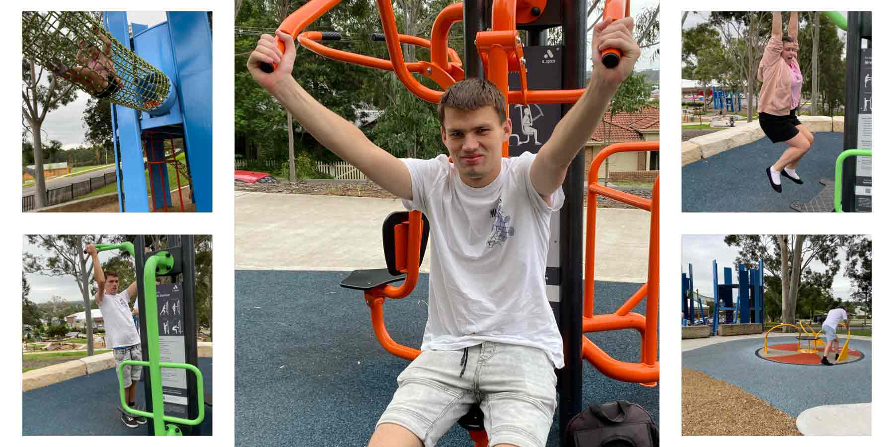 A collage of images of five different people using different pieces of exercise equipment in a park